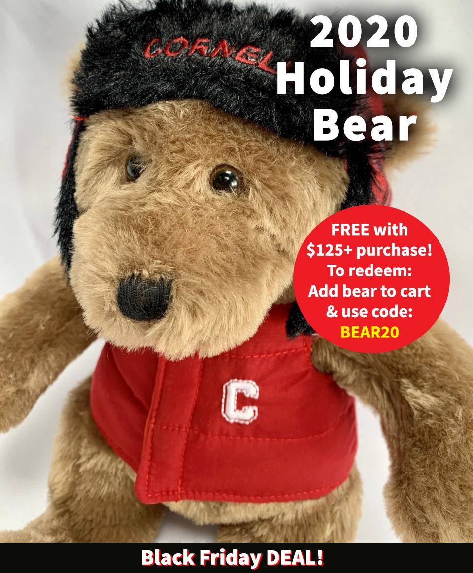 Free Cornell 2020 Holiday Bear with $125 purchase. Use promo code BEAR20