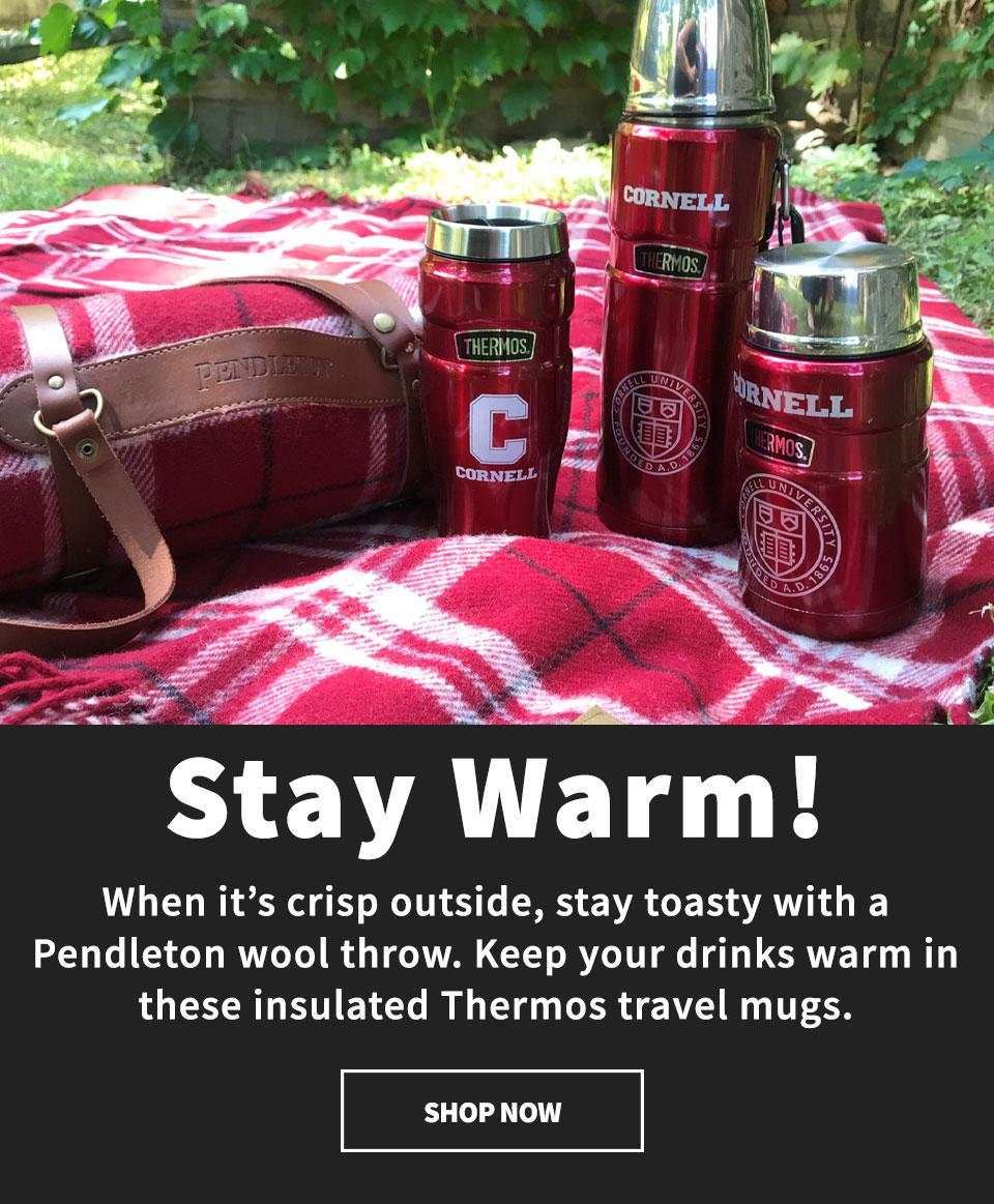 Stay warm with Pendleton wool throws and keep your beverages warm with Thermos travel mugs - shop now