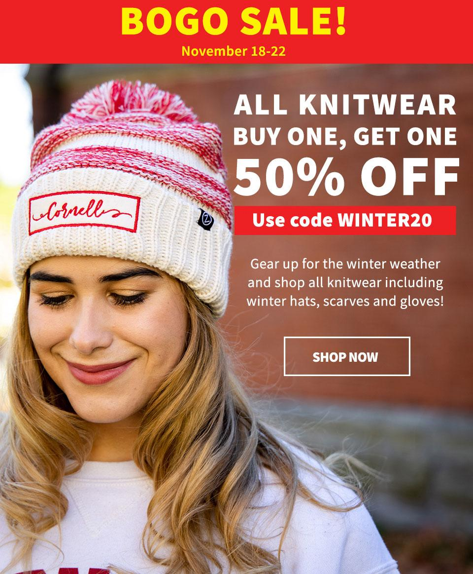 All winter hats, scarves and gloves are buy one, get one 50 percent off Nov. 18-22. Use code WINTER20
