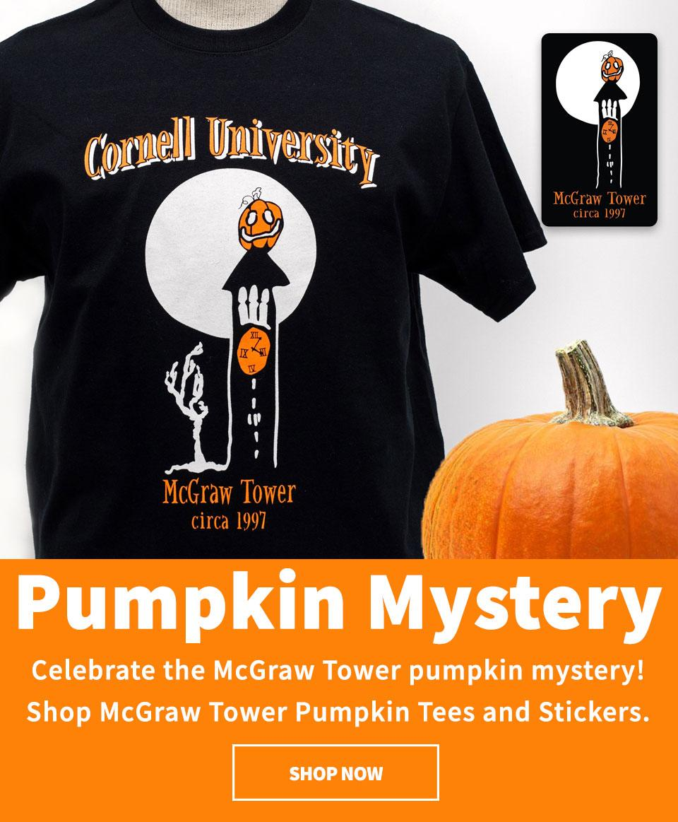 McGraw Tower pumpkin mystery - celebrate with Pumkin tees and stickers