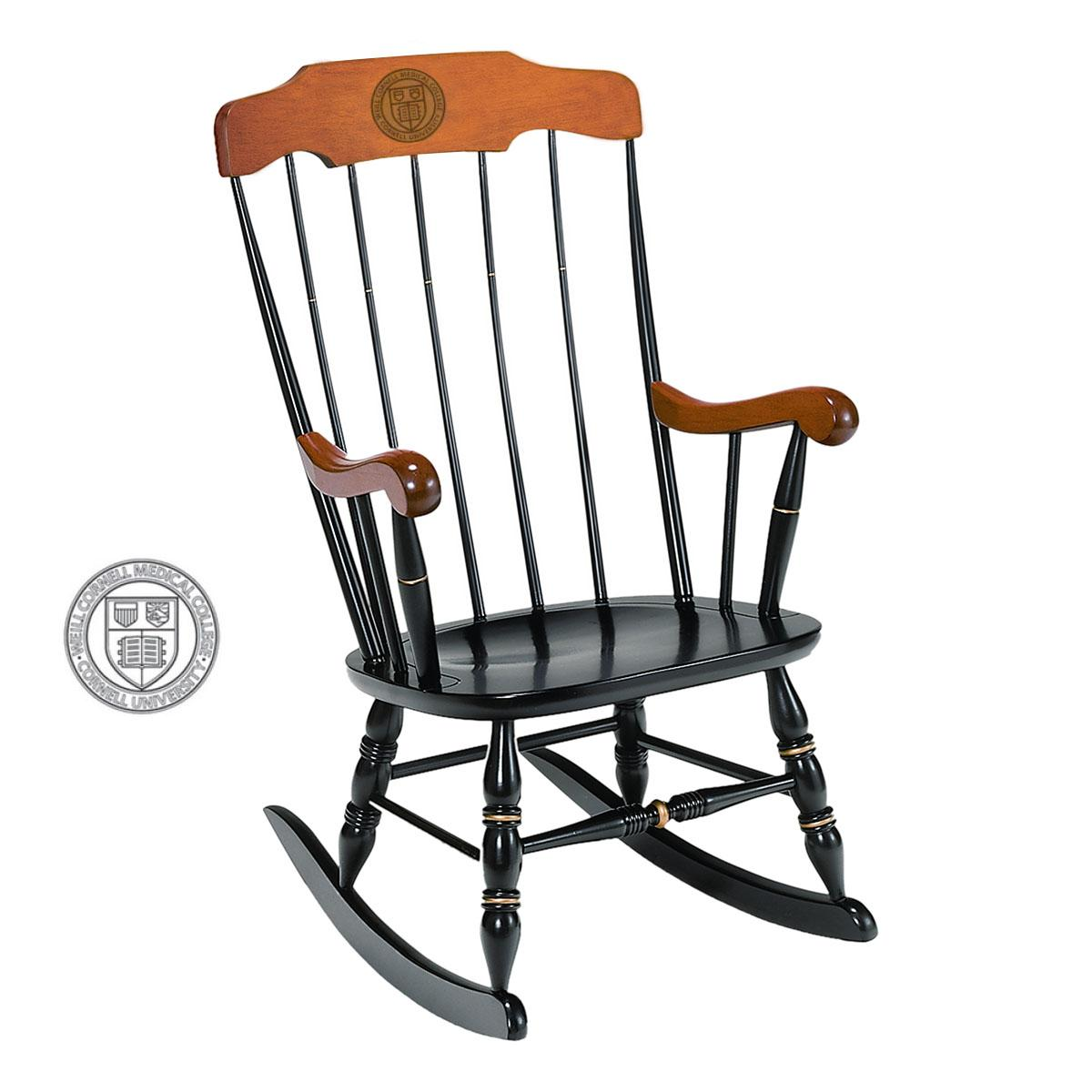 Picture of: Weill Black Rocking Chair With Cherry Arms And Head Rest