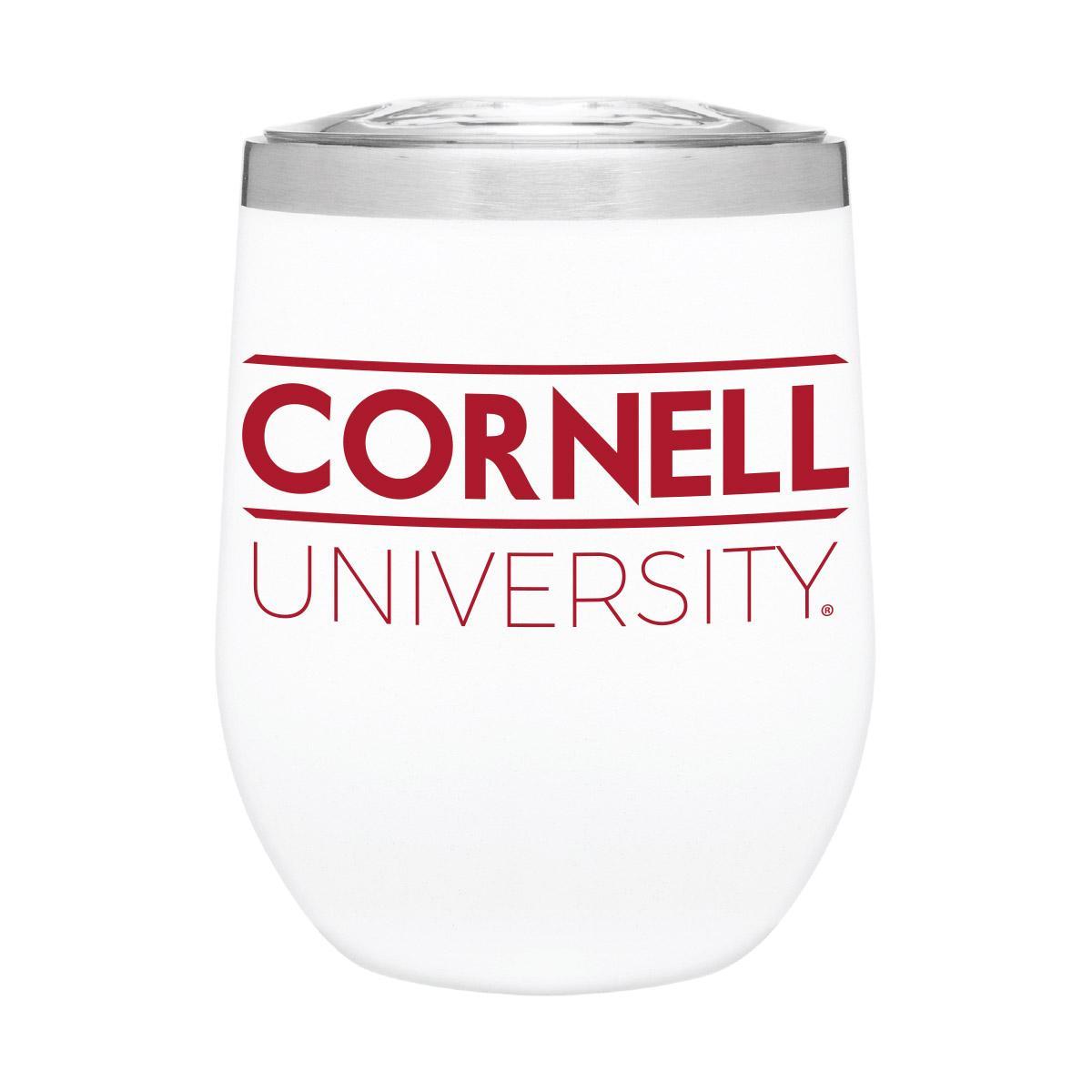 White Metal Wine Tumbler With Cornell University 12Oz